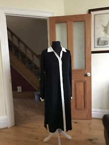 Laura Ashley Long Black Knit Cardigan Dress Coat Button Front Size L+ Fit 12-16