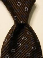 GIORGIO ARMANI Men's Cotton/Silk Necktie ITALY Luxury Geometric Brown/Blue GUC