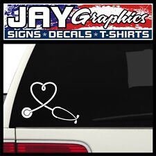 Nurse Heart w/ Stethoscope Window Decal | Sticker | Car SUV RN MD | 5x7 (White)