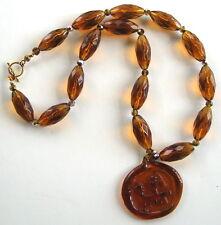 Necklace: C1960's Modernist Kosta Boda Glass Pendant/Czech Beads