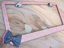 6Row Pink Bling Glass Rhinestone License Plate Frame w Orchid Bow on Bottom Side
