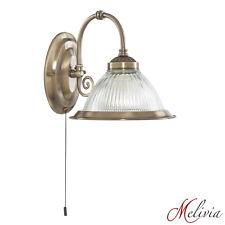 Aplique latón CRISTAL TRANSPARENTE Interruptor Lámpara de pared Pie Antiguo