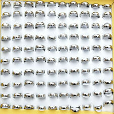30pcs Fashion Wholesale Jewelry Lots Unisex Stainless Steel Simple Bands Rings