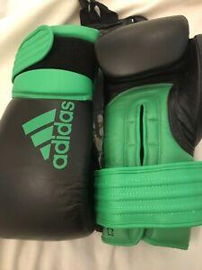 Adidas Hybrid 300 Leather Boxing Gloves Pro 14oz Black/Green