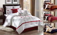3PC EMBROIDERY FLORAL DESIGNS DUVET COMFORTER BED COVER SET W/ PILLOW SHAMS