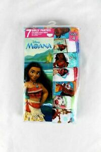 7-Pack Disney Moana Girls Panties by Handcraft Size 4 - Colorful Cotton Prints