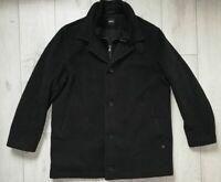 "Hugo Boss Coxx-L ""54"" Cashmere Wool Black Beautiful Over Coat Mens Mantel"