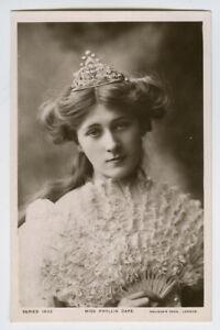 c 1906 Edwardian British Theater PHYLLIS DARE w/ Hand Fan vint photo postcard