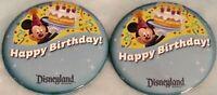 "(2)Disneyland 3"" HAPPY BIRTHDAY Button Pin Disney Parks Souvenir Mickey Cake NEW"