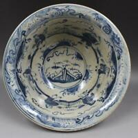 Collection Chinese Ming Dynasty Red Glaze Blue and White Porcelain Bowl 八仙人物大碗