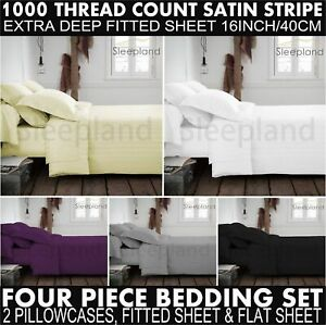 1000TC Egyptian Cotton Double Fitted & Flat Sheet & 2 P/Case Bedding Black 5*