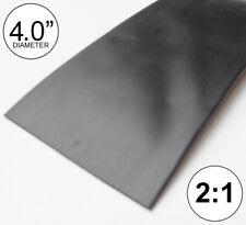 "4"" ID Black Heat Shrink Tube 2:1 ratio 4.0"" wrap (4 feet) inch/ft/foot/to 100mm"