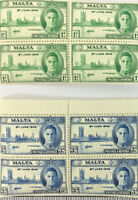 2 x BLOCK OF 4 MALTA 3d & 1d 8th JUNE 1946 STAMPS MNH (ref2)