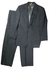 Polo Ralph Lauren Dark Charcoal Pinstripe 100% Wool Suit Size 41/34 Long