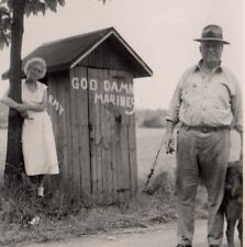 Vintage  Real Photo GD Damn Marines sign on Out House Funny Man and woman c 1950