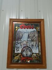 Coors Beer Mirror Timber Wolf Coors Advertising Nature Series 16x21 Beautiful