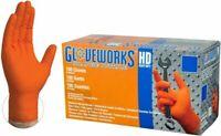 AmmexGloveworks HD Orange Nitrile Gloves Large 8mil GWON46100 Box 100 Textured