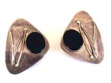 Vintage Oxidized Silver 925 Onyx Geometric Triangle Chunky Clip On Earrings