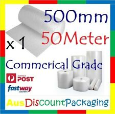 Commercial Grade 500mm x 50M Bubble Cushioning Wrap Roll Clear 10mm 1x ROLL