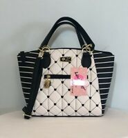 Betsey Johnson Dome Satchel Crossbody Handbag Quilt Blk White Hearts Purse NWT