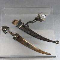 Russian Antique Silver Niello Kindjal Knife Dagger Sword Pin Medal Ceremonial