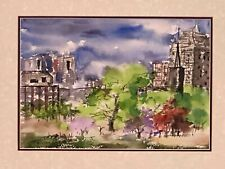 Original watercolor painting landscape freehand Boston common