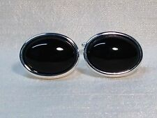 Black Onyx Cufflinks, Oval shape, in a Silver finish.