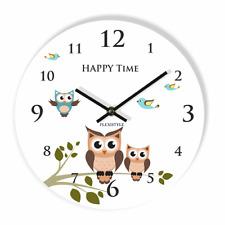 Modern Owl Large Wall Clock Home Decoration Kids Bedroom Living Room Silent