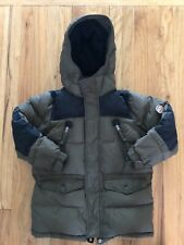 Gap Boys Duck Down Warm Coat Jacket Olive Green Black Hooded Zipper Snaps Med 8