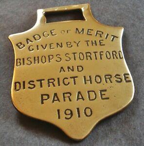 GENUINE BADGE OF MERIT HORSE BRASS AWARD - BISHOPS STORTFORD PARADE 1910