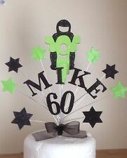 GREEN MOTORBIKE  BIRTHDAY CAKE TOP/TOPPER / ANY AGE /NAME /18th  /21st/30th/40th