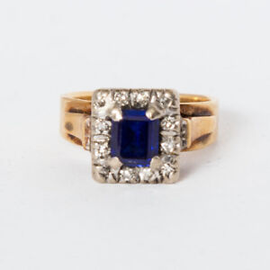 18 ct Gold, diamonds and blue stone  ring size US 4.5 - AUST I. gold  5 grams