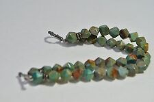 Vintage Native American Silver Green Turquoise Double Strand Bead Bracelet