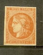 "FRANCE STAMP TIMBRE N° 48 "" CERES BORDEAUX 40c ORANGE "" NEUF x TB SIGNE"