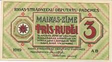 A SAISIR  BILLET DE 3   ROUBLES  1919   LETTONIE