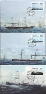 Faroe Islands Denmark Old Steam Vessels Ships FDC MAXI Cards (3) 1983