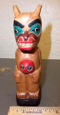 Alaska Tribal Totem Pole hand carved wood 6 in. tall -  tribal bear, unique item