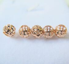 5pcs New Pure 18K Rose Gold Pendant Woman's 7mm Fine Fashion Hollow Lucky Bead