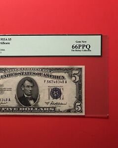 1953A - $5 SILVER CERTIFICATE NOTE,GRADED BY PCGS GEM NEW 66 PPQ…..DEAL