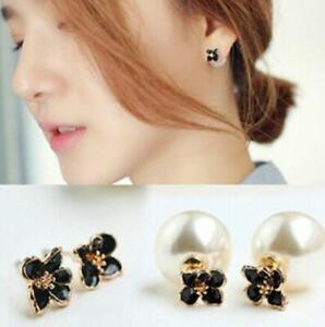 Daisy Flower Stud Earrings Women's Girls Pearl Ear Studs Jewellery Party Wedding