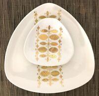 Kaiser Alka Kunst Serving Plate Set MCM Triangular White & Gold W Germany EUC