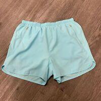 Champion Running Shorts Womens Size M Inner Lined Light Blue Stretch Zip Pockets