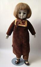 "Vintage Happyland 17"" Porcelain Haunted Girl Doll Velvet Victorian Spirit Dress"