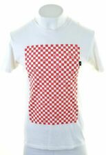 VANS Mens Graphic T-Shirt Top Medium White Cotton Custom Fit  O016