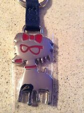 Coccinelle key ring chain metal and leather RARE dog with glasses and bow