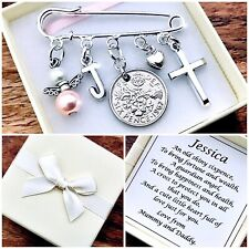 LUCKY SIXPENCE CHRISTENING Kilt Pin Charm, BAPTISM, PERSONALISED GIFT, box