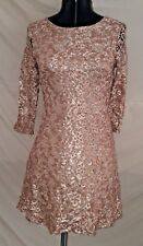 Sexy Forever 21 Sparkly Sequin Champagne Tan Lace Party Dress Fully Lined Small