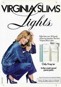 1970's VIRGINIA SLIMS LIGHTS CIGARETTES 70's Woman DECORATIVE REPLICA METAL SIGN