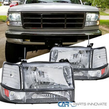 New listing For 92-96 F150 F250 F350 Bronco Factory Style Clear Headlight+Corner Bumper Lamp