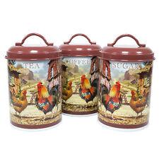 Chicken Hen Farmyard Tea Coffee Sugar Canisters Kitchen Storage Jars Vintage Set